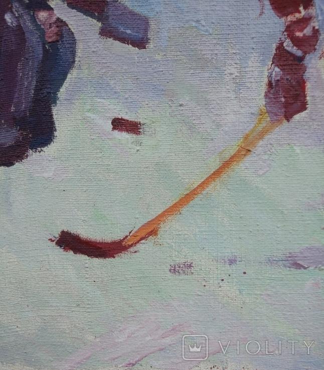 "В.Кнышевский""Секунда и гол"", х м.40*50см, 1980г, фото №11"