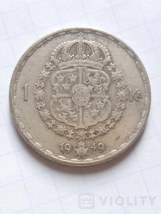 1 крона 1949 Швеція срібло, фото №2
