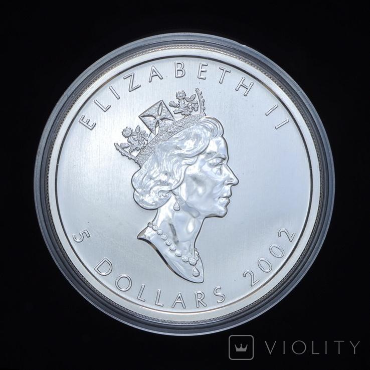 5 Долларов 2002 Зеленый Кленовый Лист 1oz, Канада Унция, фото №3