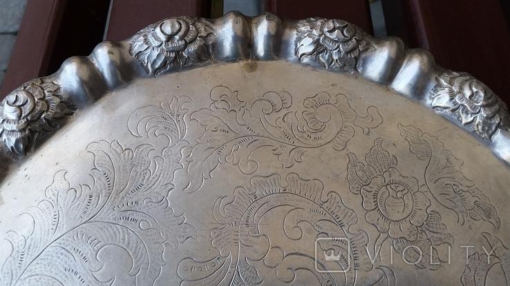 Піднос, тортівниця, 13 Lot (800) Відень 1855 рік,  Ф29,7 см, 580 грам, фото №5