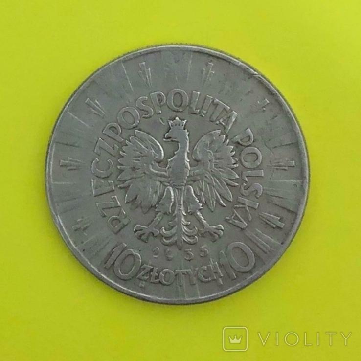 Польща 10 злотих, 1935р. Срібло., фото №3