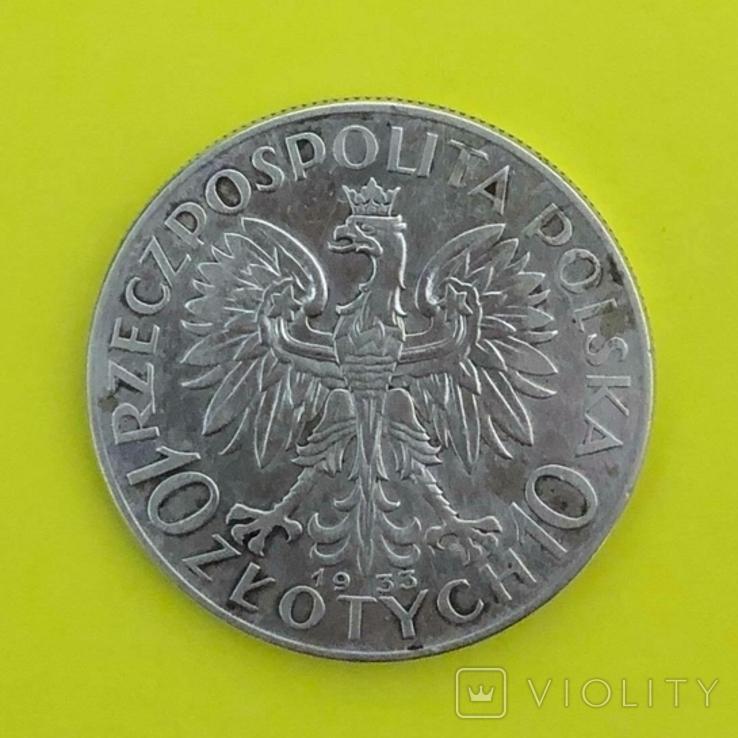Польща 10 злотих, 1933р. Срібло., фото №3
