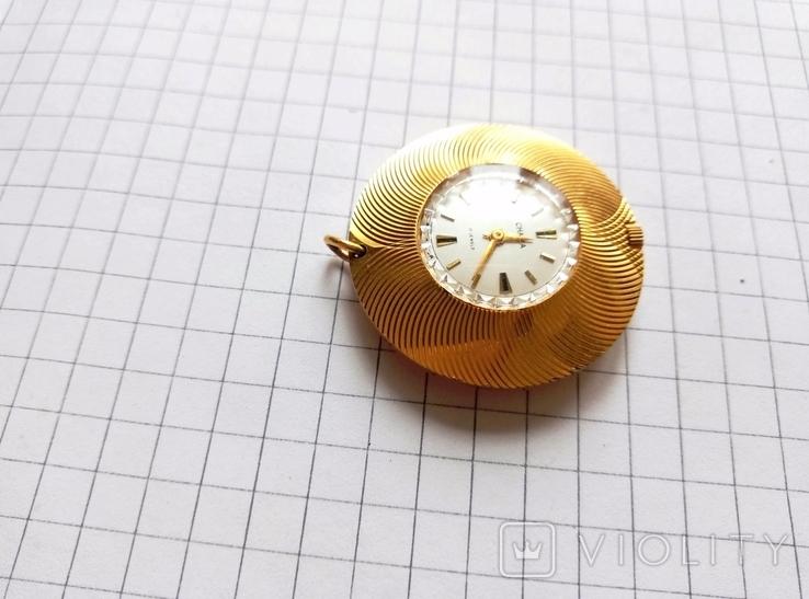 """Часы - кулон """"Чайка"""" в позолоте Ау, рабочие, фото №3"""