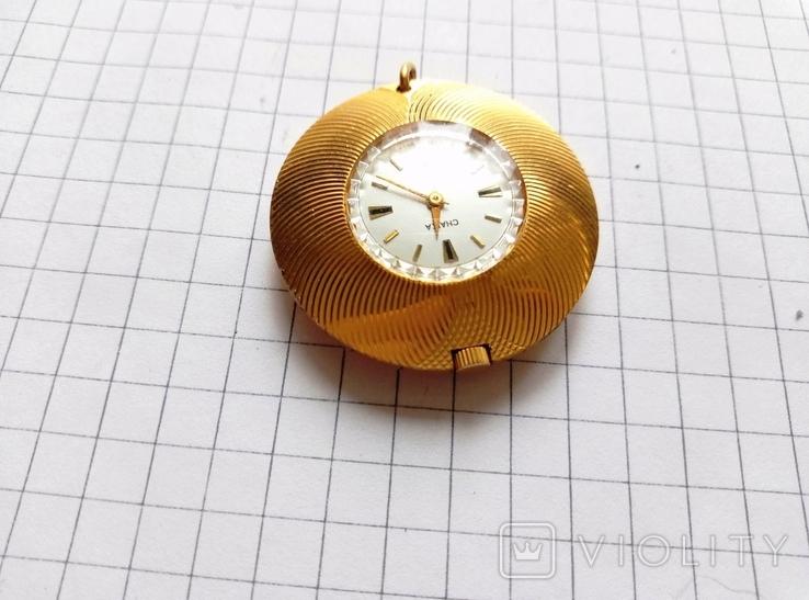 """Часы - кулон """"Чайка"""" в позолоте Ау, рабочие, фото №4"""