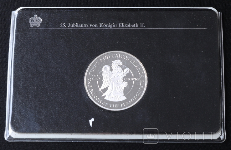 25 Крон 1977 Сокол Плантагентов (Серебро 0.925, 43.75г), Теркс и Кайкос, фото №5