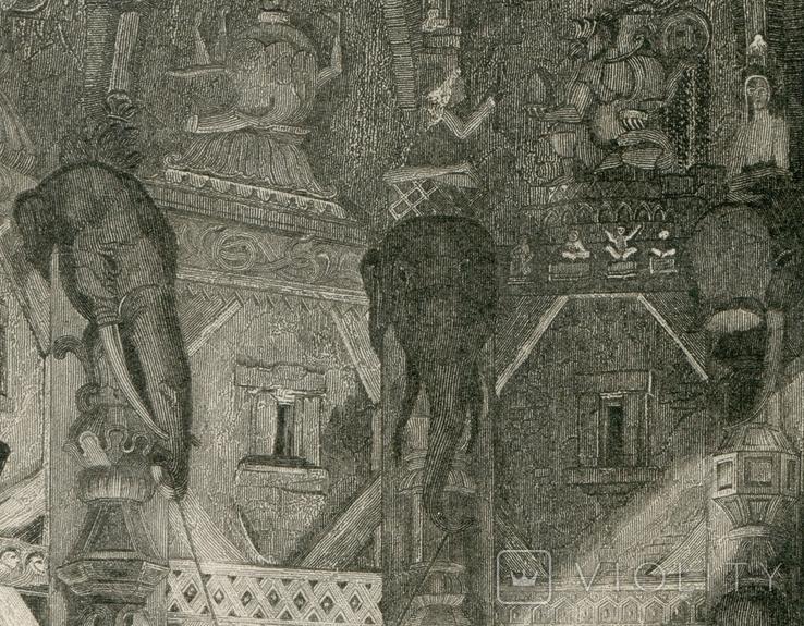 Старинная гравюра. 1839. Индия. Внутри Храма Бога. 21х15см, фото №6