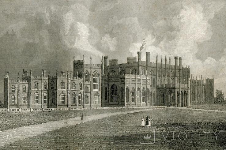 Старинная гравюра. 1834. Англия. Итон Холл, Чешир. 27х17см, фото №2