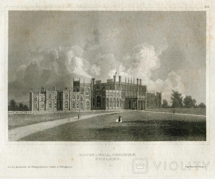 Старинная гравюра. 1834. Англия. Итон Холл, Чешир. 27х17см, фото №3
