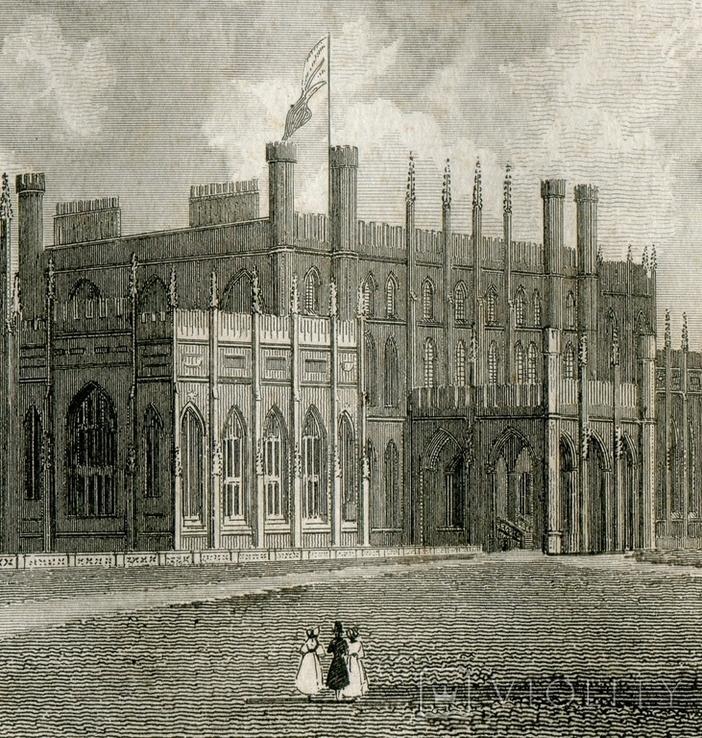 Старинная гравюра. 1834. Англия. Итон Холл, Чешир. 27х17см, фото №5
