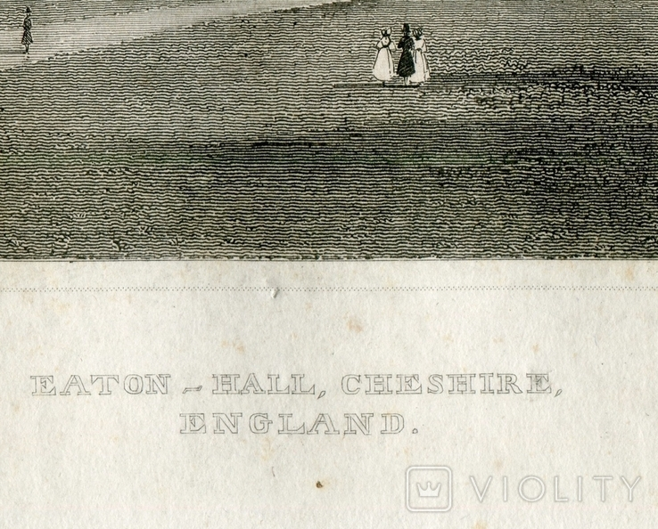 Старинная гравюра. 1834. Англия. Итон Холл, Чешир. 27х17см, фото №6