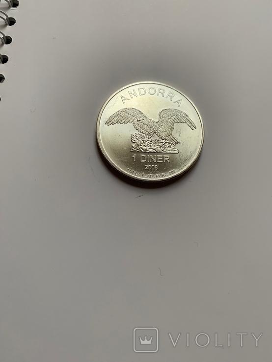 Андора. 1 динар. 2008 г. 999 пр. 31,1 гр., фото №2