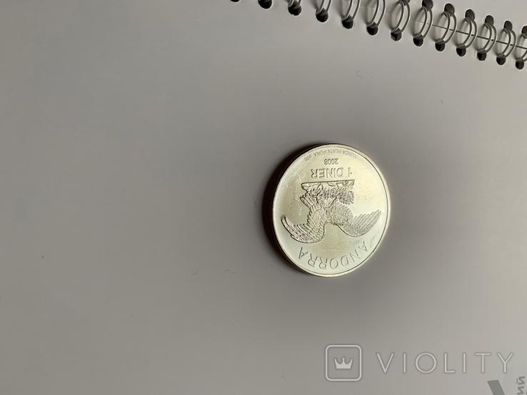 Андора. 1 динар. 2008 г. 999 пр. 31,1 гр., фото №3