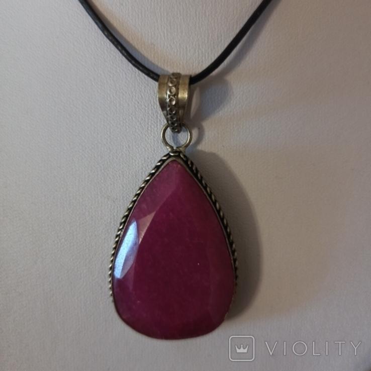 Серебряный подвес с рубином. 925 пр. Вес - 17,42 гр., фото №2
