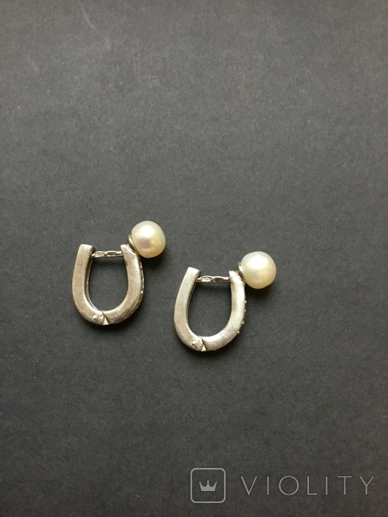 Сережки женские. Жемчуг, фото №6