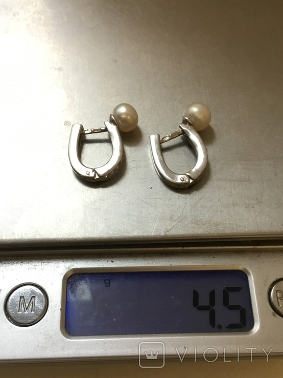 Сережки женские. Жемчуг, фото №9