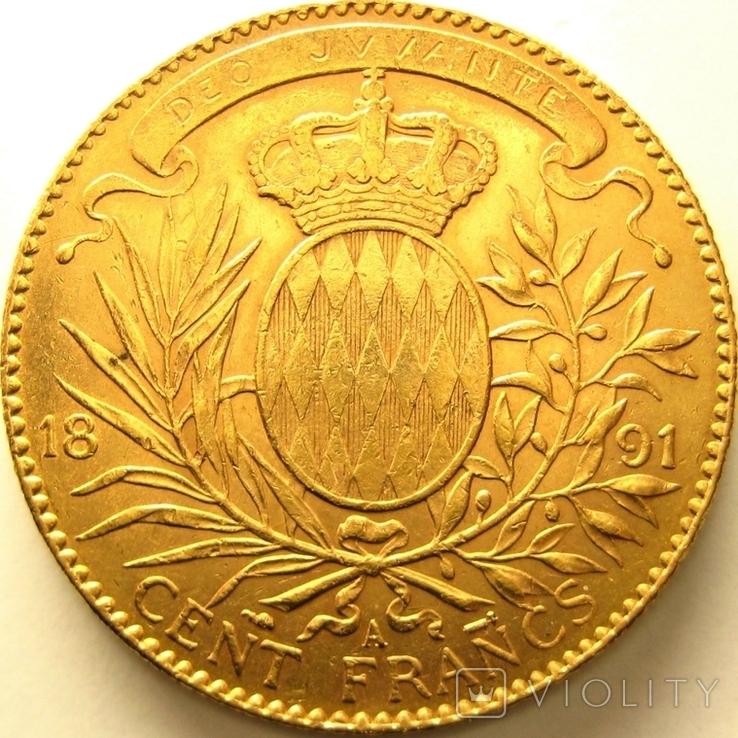 Монако 100 франков 1891 г., фото №3