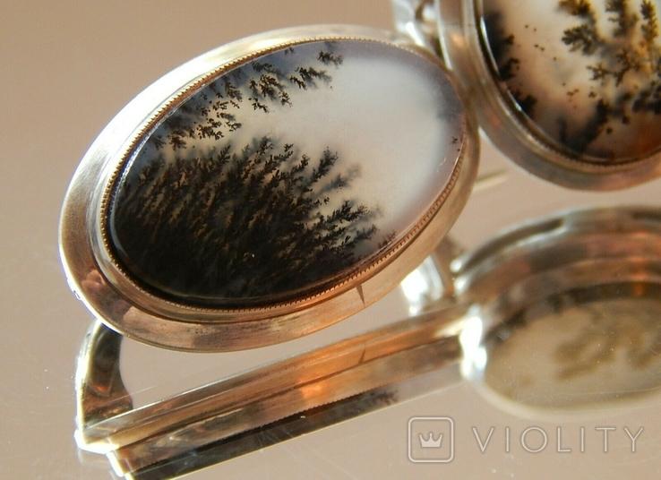 Натуральный пейзажный моховый агат 60-70г/гарнитур/, фото №4