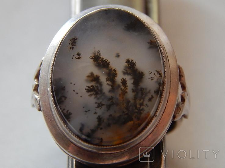 Натуральный пейзажный моховый агат 60-70г/гарнитур/, фото №7