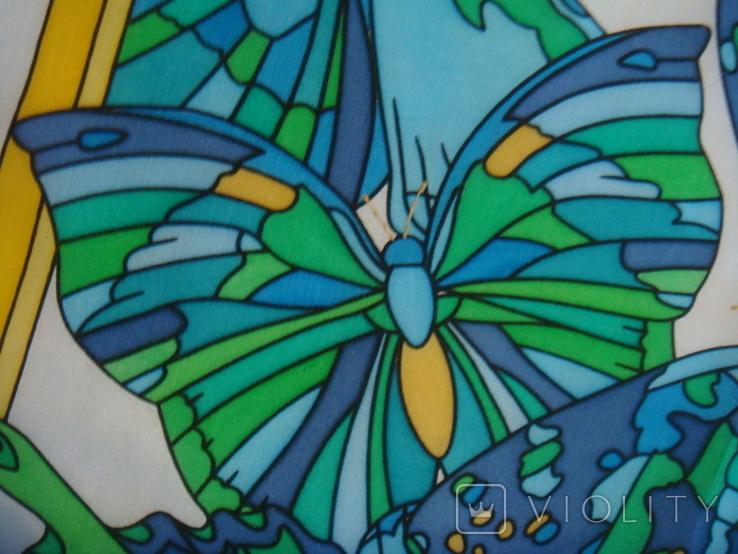 Платок дизайнерский подписной Бабочки, натуральный шелк, фото №2