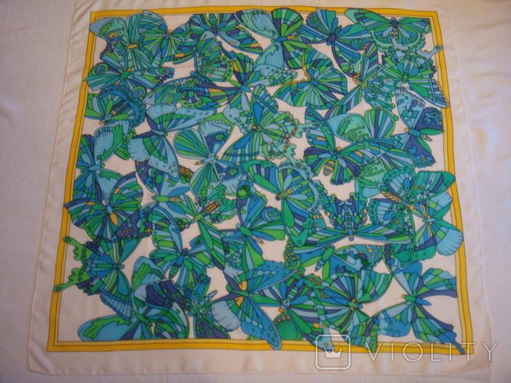 Платок дизайнерский подписной Бабочки, натуральный шелк, фото №3