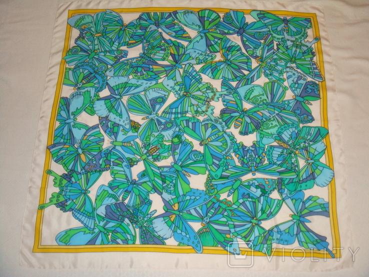 Платок дизайнерский подписной Бабочки, натуральный шелк, фото №4
