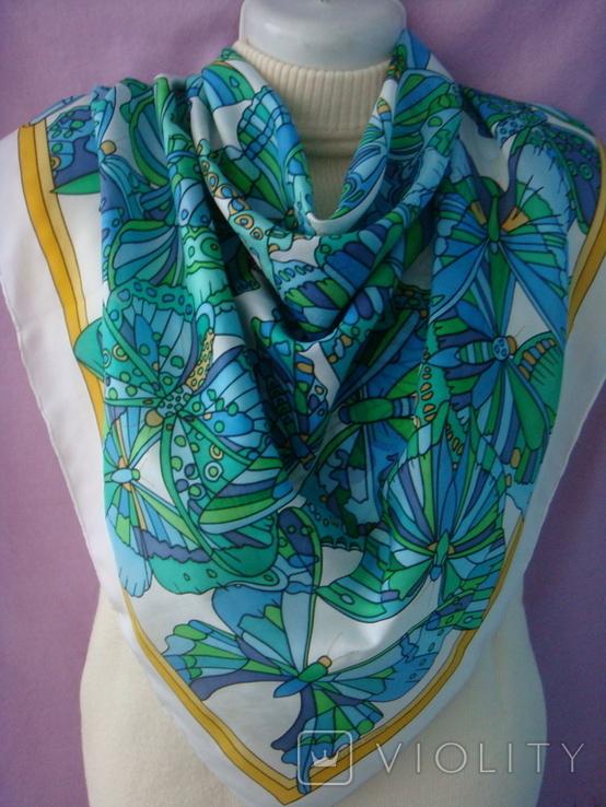 Платок дизайнерский подписной Бабочки, натуральный шелк, фото №9