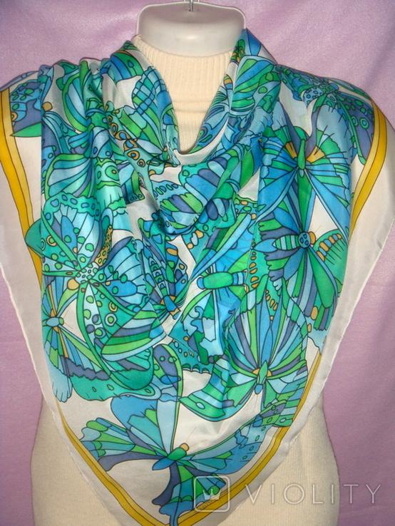 Платок дизайнерский подписной Бабочки, натуральный шелк, фото №10