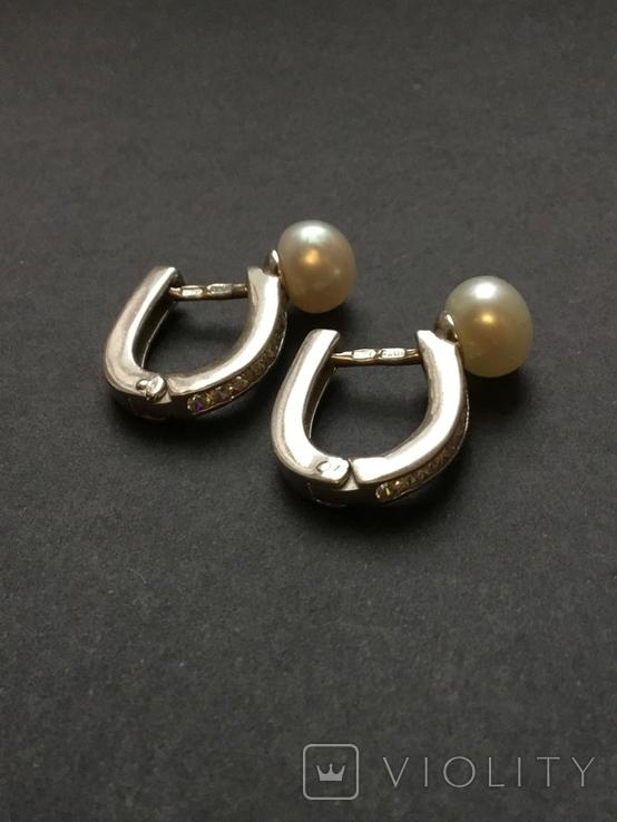 Сережки женские. Жемчуг, фото №8