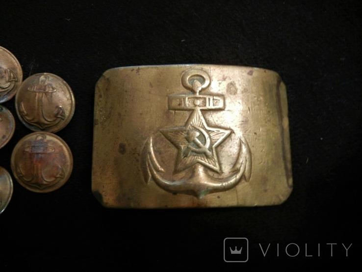 ЧВМФ 1943 Севастополь 7шт пуговиц и пряжка, фото №3