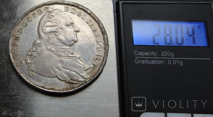 Талер Карл Бавария 1786 серебро. 28,04г, фото №4
