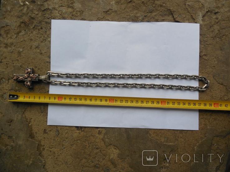 Серебряная цепь с крестом Христос Воскрес . 261 грамм (лоза золотая 7+ грамм), фото №4