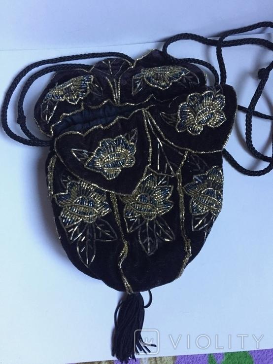 Сумочка с вышивкой стеклярусом, фото №2