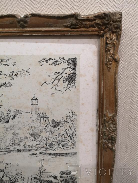 """Картина """"Замкова гора"""", дереворит, рідна рама, фото №8"""
