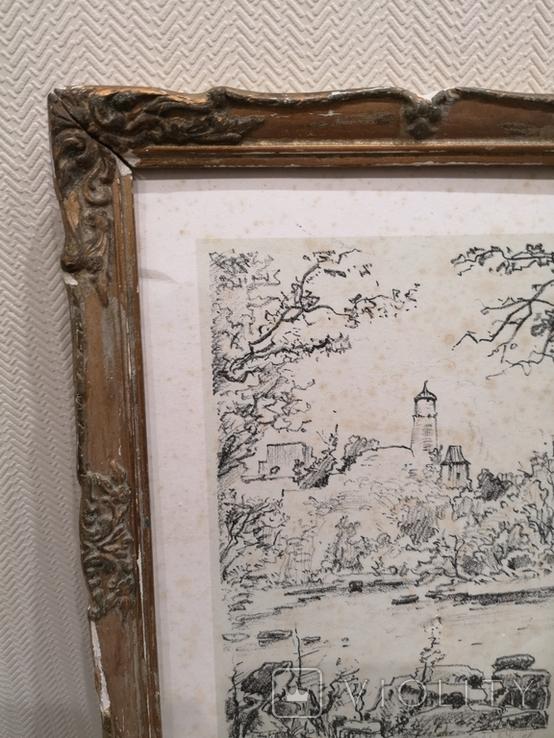 """Картина """"Замкова гора"""", дереворит, рідна рама, фото №9"""