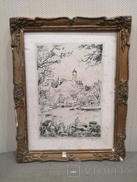 """Картина """"Замкова гора"""", дереворит, рідна рама, фото №2"""