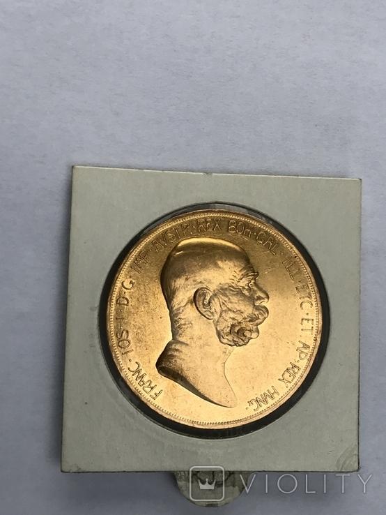 100 корон 1908 Франц Иосиф  60 лет правления, фото №3