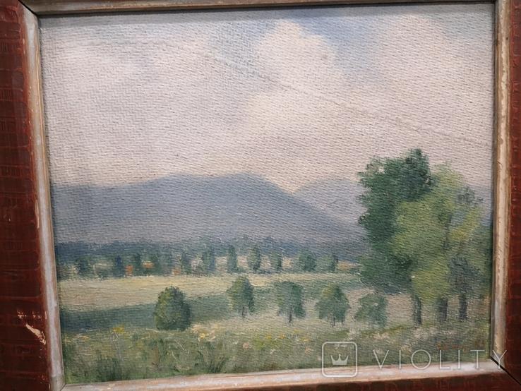 Пейзаж 1955р в рідній рамі з підписом автора, фото №9