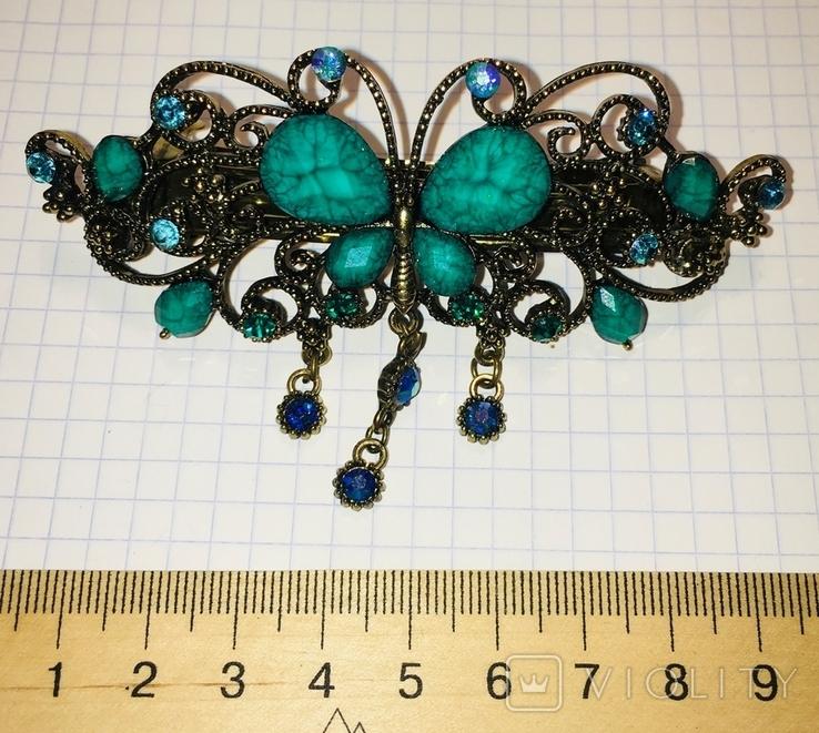 Металлическая заколка для волос: бабочка / искуственная бирюза, фото №5