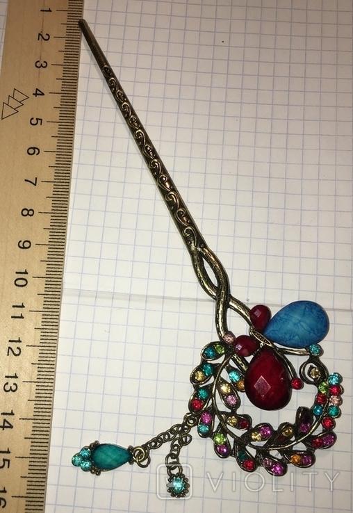 Металлическая заколка, шпилька для волос с подвеской / искуственная бирюза, фото №4