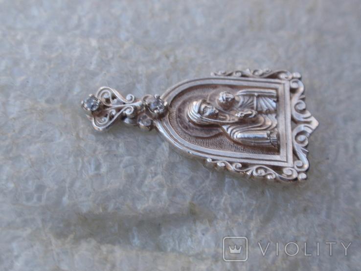 Ладанка Богоматерь из серебра 925., фото №4