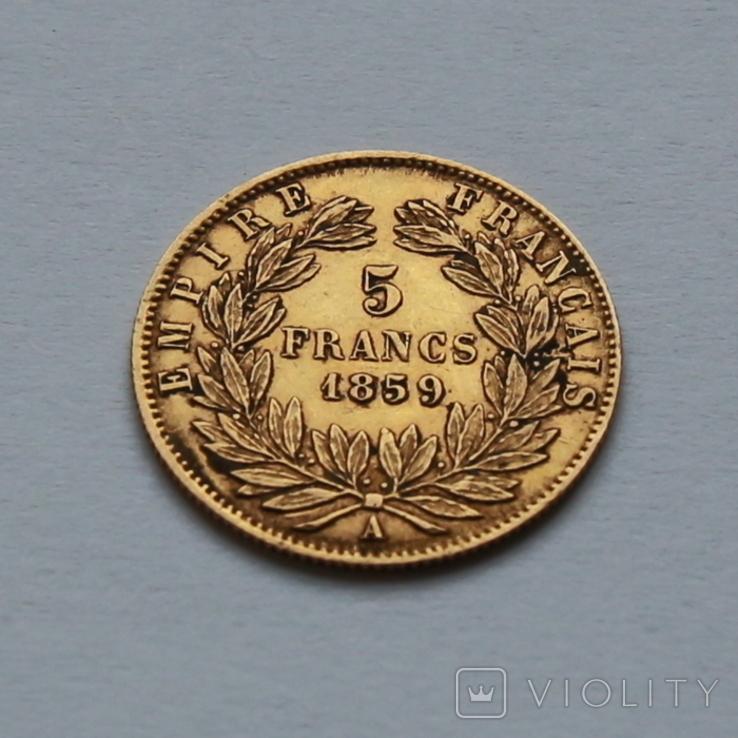 5 франков 1859 Наполеон III Франция. Золото 1,62г, фото №3