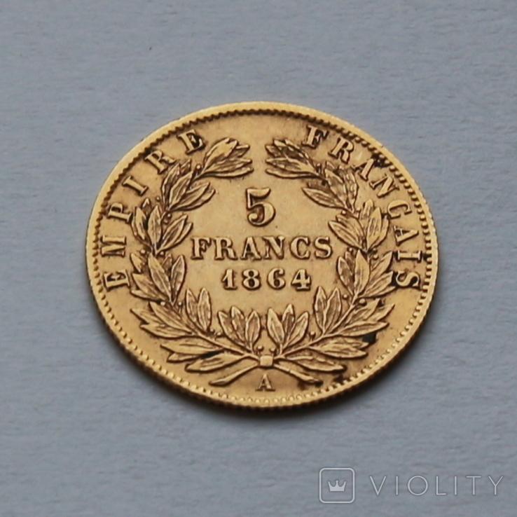 5 франков 1864 Наполеон III. Франция. Золото 1,62г, фото №3