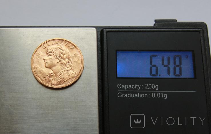 20 франков 1916 Швейцария. Золото 6,48г, фото №4