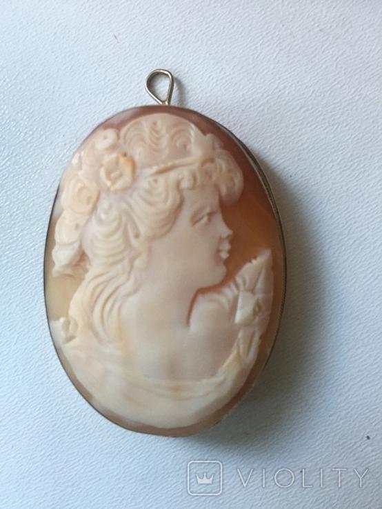 Камея на раковине 4,5 на 3,5см серебро, позолота, фото №7