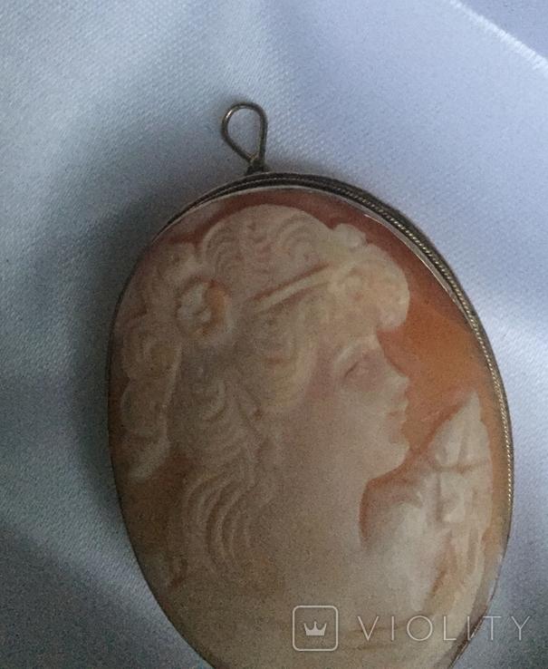 Камея на раковине 4,5 на 3,5см серебро, позолота, фото №9