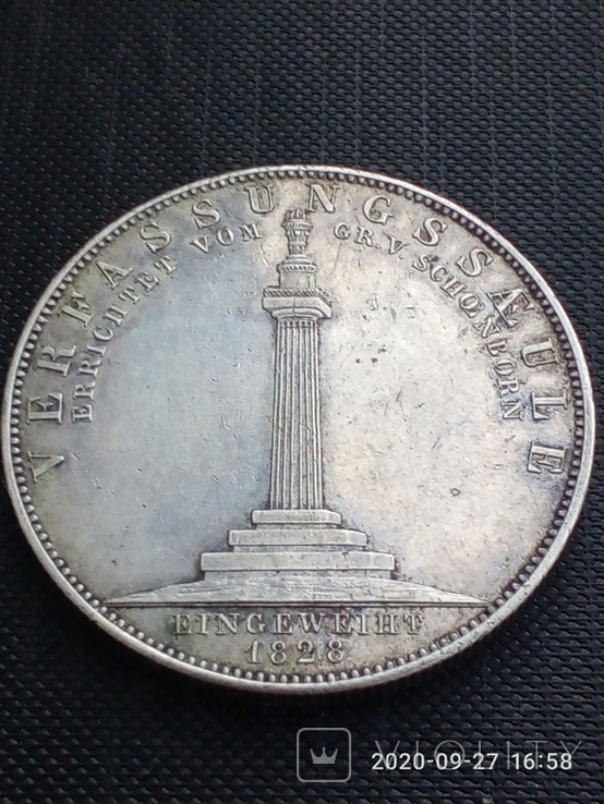 Таляр Баварії 1828 р. Ювілейний., фото №3