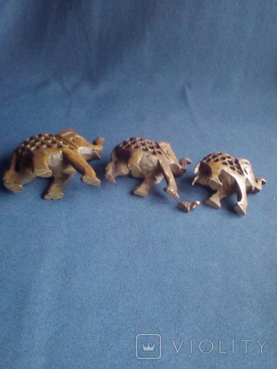 """Композиция """"Три слона с поднятыми хоботами"""" - символ процветания. Резьба по дереву, фото №7"""