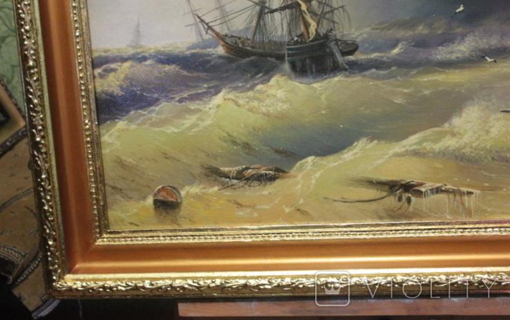 Копия картины худ .Айвазовского.(маринизм)-масло-холст, фото №6