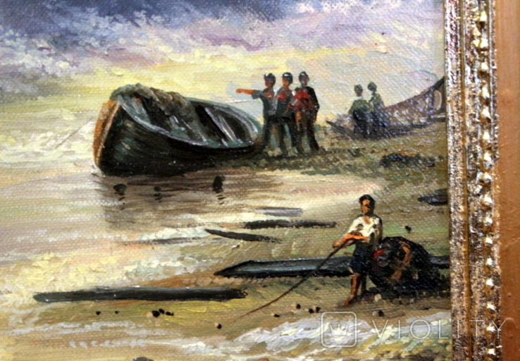 Копия картины худ .Айвазовского.(маринизм)-масло-холст, фото №8