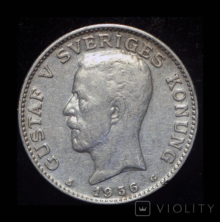 Швеция крона 1936 серебро, фото №3